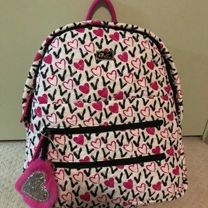 New Betsey Johnson Love backpack Pink White